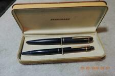 Antique Navy Blue Wahl Eversharp Skyline 14k Nib Fountain Pen Pencil Set W/ Box