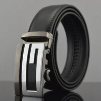 Men's Luxury Leather Belt Automatic Buckle Belt Ratchet Strap Gift Jeans Dress