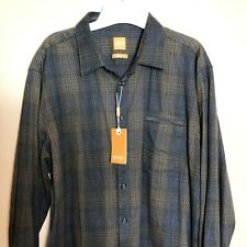 HUGO BOSS ORANGE Men's XXL Brown Shadow Plaid Cotton Blend LS Button Shirt NWT