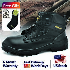 3f2b23908211 Safetoe Mens Safety Boots Work Shoes Steel Toe Black Leather M-8356B US  Size6-