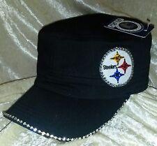 Pittsburgh Steelers Women's Black Cadet Rhinestone Bling NFL Cap Hat ~NEW~