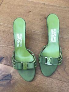 Salvatore Ferragamo Green Open Toe/Sandal Kitten Heels - Approx UK Size 5