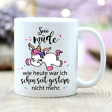 """T235 Wandtattoo-Loft Kaffee Einhorn Unicorn """"So müde wie heute"""" Schlafend"""