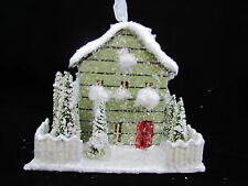 Putz Style Cottage House Cabin lighted Ornament ~ Ragon House New Green 10305