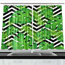 Tropical Green Leaves Kitchen Curtains Window Drapes 2 Panels Set 55*39 Inches