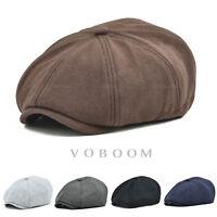 100% Cotton Newsboy Cap Men's Gatsby Cap Golf Driving Ivy Hat Flat Cabbie V2