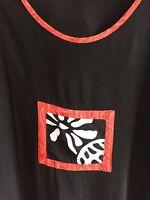 GLOBE TROTTER Top Bali Batik Hand Made Rayon S/S Black Crop Indonesia Women's M