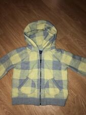 Baby Gap Girls Neutral Plaid Hoodie Sweatshirt Zipper Fall Everyday Euc Size 4T