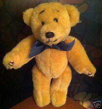 TY Attic Treasure~Retired~Reggie Bear~1992 Tan with Blue Bow~Rare ~ Stuff Plush