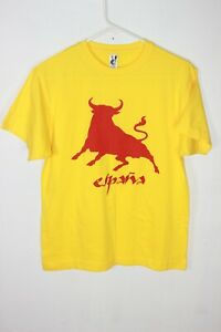 Espana Spain Yellow w/ Red Graphic Bull Cotton Adult Size M T-Shirt