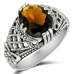 2CT Smoky Topaz 925 Solid Sterling Silver Filigree Ring Jewelry Sz 6, WF5