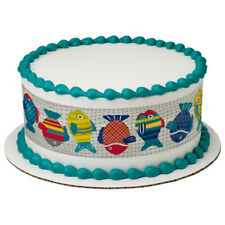 Colorful Fish Edible Cake Border Decoration - Set of 3 Strips