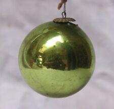 Vintage Glass Original Green Christmas Kugel,japan K 02
