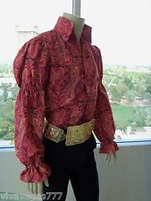 ELVIS (MATTE RED PAISLEY Puffy Shirt) Tribute Artist Costume (Jumpsuit Era)