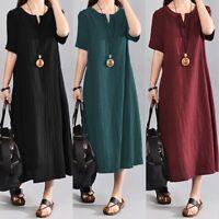 Womens Short Sleeve Cotton Linen V Neck Loose Casual Maxi Dress Summer Kaftan