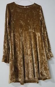 ZARA GIRLS Party dress, GOLD COLOR, 13-14/164cm, Polyester, Brand New $45.00