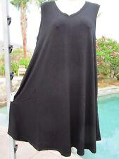 NEW Zenana Premium dress sundress V-neck stretch L black sleeveless pockets