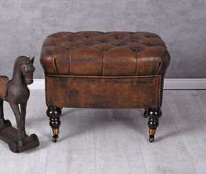 English Sitting Stool Chesterfield Stool Faux Leather Ottoman Bench Stool