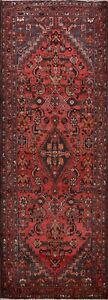 Vintage Geometric Hamedan Traditional Tribal Runner Rug Hand-Knotted Wool 4'x9'