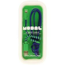 NEW Modal 4ft Twist Lightning USB Cable BLUE / GREEN for Apple iPhone iPad Sync