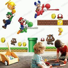 Large SUPER MARIO Kids/Boy/Nurse​ry Game Room Wall Stickers Reusable&Transparent