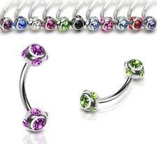 16g Curved Stainless Steel Eyebrow Bar With 4mm Multi Gemmed Balls