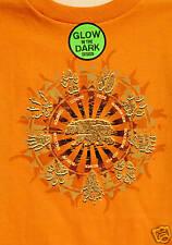Youth T shirt ANIMAL TRACKS 6-8 Orange Glow in the Dark Kids TEE Great Gift BEAR