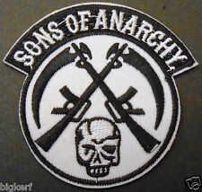 SONS OF ANARCHY - SKULL & GUNS - BIKER ROADGEAR  EMBROIDERED PATCH - IRON OR SEW