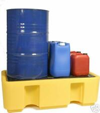 2 Drum Oil or Chemical Bunded Drip Sump Spill Pallet