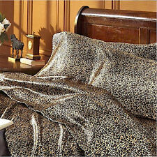 Satin Sheet Set QUEEN Size Leopard Animal Print Luxury Silk Feel Safari Bedding