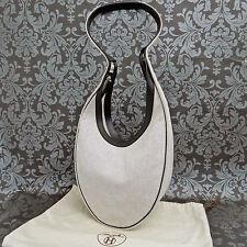 Rise-on Vintage HERMES Toile H Canvas Sac Luco Black & Grey Shoulder bag #60