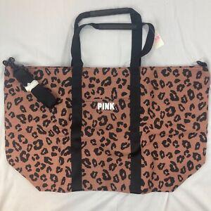NWT Victoria's Secret Weekender Zip Top Tote Cocoa Powder Leopard Print