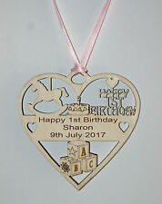 PERSONALISED GIRLS 1ST BIRTHDAY PLAQUE ENGRAVED WITH THE WORDING OF YOUR CHOICE