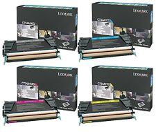 A Set Genuine Lexmark C734A1KG, CG, MG, YG Toner Cartridges C734DN C734DW C736DN