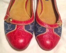 AUTH $1200 LOUIS VUITTON Women Flat Shoe Red Leather & Blue Denim Size 7(US) 37