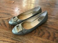 Womens Cole Haan D29910 Cushion Air Gold Leather Buckle Ballet Flats Shoes 7.5 B