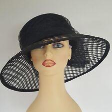 Ladies Formal Occasion Hat Wedding Races Black Lattice Rear Bow