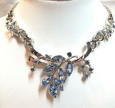 """Metal Necklace - 14 3/4"""" Long Costume Blue Crystal Silver Plated White"""