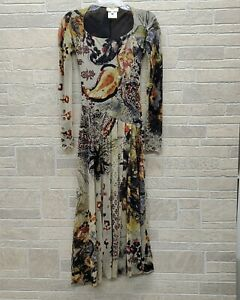 Jean Paul Gaultier Fuzzi Italy Mesh Tulle Print Long Stretchy Dress Size Small