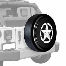 Oscar Mike Star - Painted  Tire Cover - Jeep Wrangler - Black