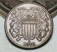 1870 Two Cent Piece 2C Higher Grade Choice Civil War Era US Copper Coin CC7008