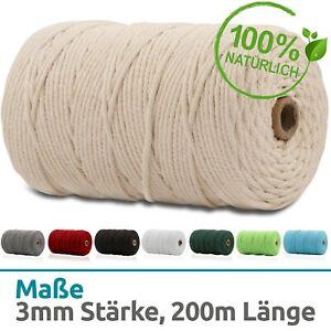 Makramee Garn Baumwolle Schnur - 3mm x 200m - zum basteln - Natur - Faden - Seil