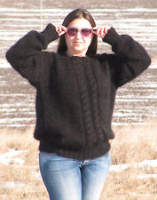 MOHAIR Hand Knitted BLACK Cable Sweater With Ornament Pullover Jumper Soft Cosy