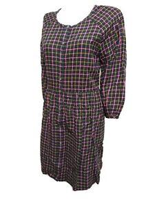 madewell Women NEW Size 8 Flannel Shirt dress button up 3/4 Sleeve(#P3