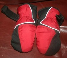 Thinsulate Insulation 40 Gram Black & Red Poly/Fleece Lined Mittens~sz S (4-7)