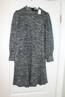 Ann Taylor Loft Mock Neck Sweater Dress Marled Gray Black Brand New with Tags