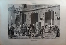 ANTIQUE ENGRAVED JAPAN YEAR 1876 A BOOKSTORE IN YEDO 19th CENTURY PRINT  15CC