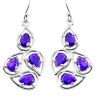 13.26cts Natural Purple Amethyst 925 Sterling Silver Dangle Earrings P36663