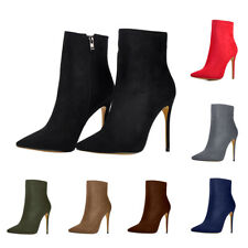 Onlymaker Women's Pointed Toe Ankle Boots Side Zipper Suede High Heels Booties