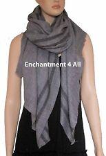 New Large Handmade Winter Fashion Scarf Shawl Wrap w/Stripes, Gray
